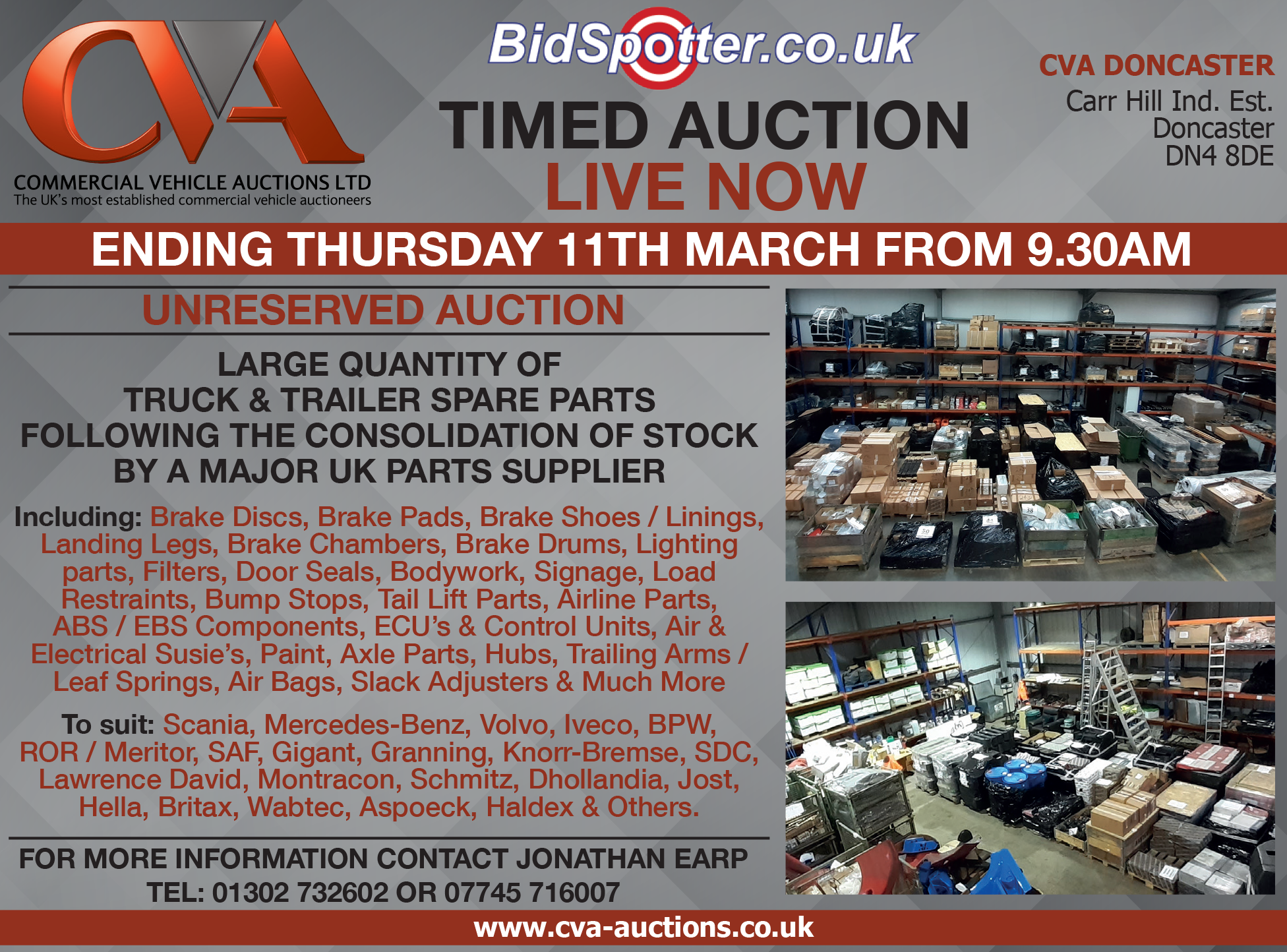 100's of Truck & Trailer Parts up for Timed Auction